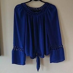 XOXO cobalt blue lattice tie front blouse M